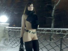 Sexy Jeny being all hot in a snowy winter day