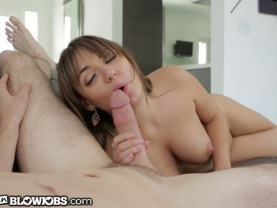 Charlotte tricks her step bro in to a nice blowjob