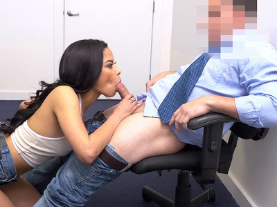 19yo Latina Maya Bijou on her knees sucking hard cock