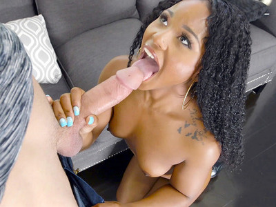Ebony cutie Charlie Rae gives nice soft blowjob