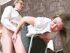 Playgirl is riding on teachers hard rod zealously