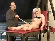 Cute blonde slave Chaos tit tormented to tears and