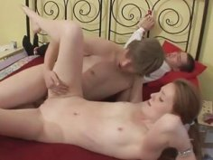 Housewife cuckolds her spouse in his presence