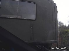 Redhead bangs fake cop in abandoned trailer
