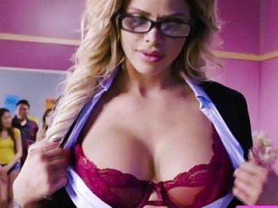 Horny Professor Jessa Rhodes enjoys a big hard cock