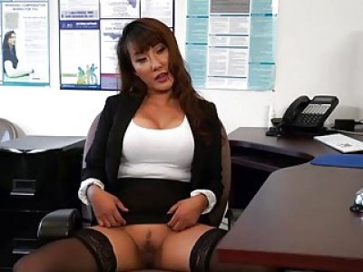 Sexy busty asian chick Tiffany Rain fucked in office