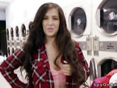 Voyeur bangs busty babe in laundromat