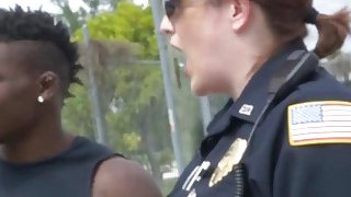Black stud gets lucky with two cops in truck