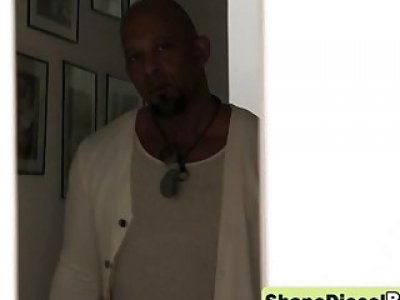 Lonely ebony girlfriend entertained sexy hardcore by monster dick Shane Diesel