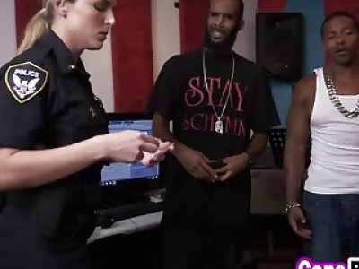 Black stud bangs two slutty cops in threesome
