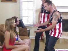 Blair Williams and Maya Kendrick fucked by their stepdads i fourosme
