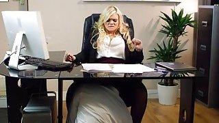 Luscious office babe Katy Jayne tit fuck and banged hard