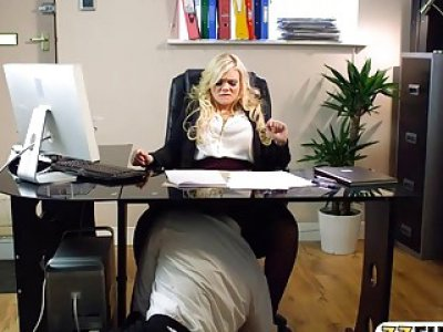 Luscious office babe Katy Jayne tit fuck and banged hard