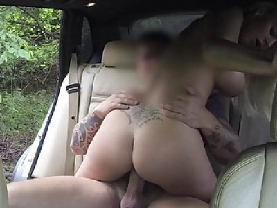 Big boobies babe screwed by nasty driver