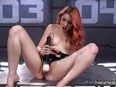 Hairy redhead squirts on fucking machine