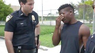 Slutty cops taking long black schlong in truck