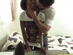 African hottie takes long white schlong in pussy