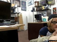 Blondie with glasses railed by pawn man in back office