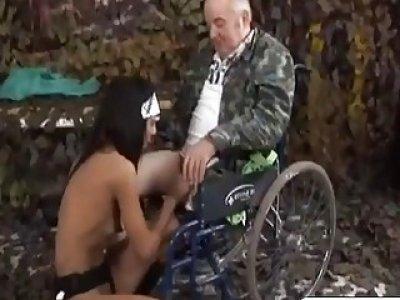 Horny nurse rides on old handicap dudes cock