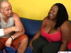 Fat bitch Daphne takes on a hard white cock