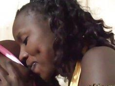 African babes pleasing lucky guy white schlong
