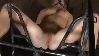 Gagged cutie acquires raging whipping on her tits