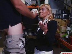 Hot blonde milf gets banged in pawnshops storage room
