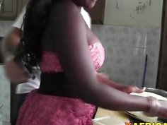Busty black girlfriend Chari stimulated by white big cock lover at her home with spy camera