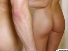 Seductive blonde masseuse Abby Cross gives incredible blowjob
