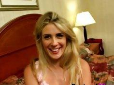 Pregnant blonde blowing big black cock in bedroom