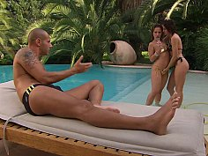 Poolside perfect threesome