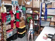 Redhead shoplifter Krystal drilled by huge a cock