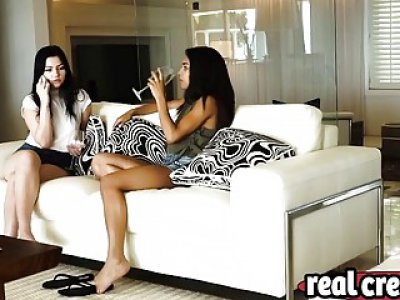 Rough interracial bondage threesome with two teens