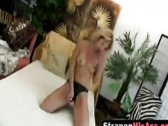 Blonde domina Kristy uses big strapon and punishes her lover anally