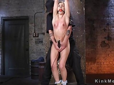 Upside down bondage for blonde slave