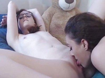性感的热女同性恋舔对方猫