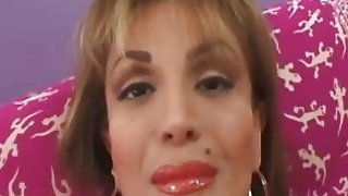 Slutty mature Sofia Soleil masturbates on a couch before gets a big cock in her pussy