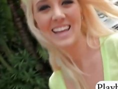 College teen blondie picked up on the street and railed