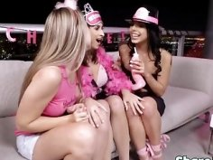 Lucky dude fucks three stunning brunette chicks