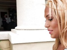 Blonde lesbian babe Selena Sosa fucked for cash
