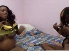 Pregnant ebony sluts using dildos in bedroom
