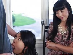 Asian mom Marica and Cindy enjoyed in a 3some