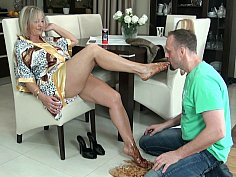 GILF's little foot-slave