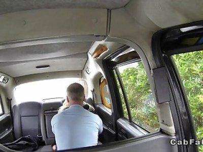 Beautiful huge tits bombshell sucks in cab