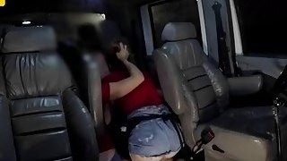 Lucky tow truck driver gets to fuck hard two hot babes inside his truck