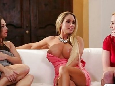 Unusual women Abigail and Tegan with Kate in wild trio lesbian sex