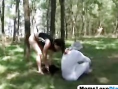 Stud gets banged by step mom strapon outdoors