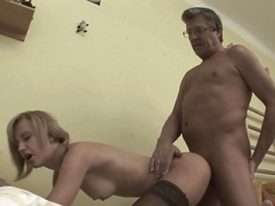 Short Haired Blonde Stepdaughter Fucked Stockings
