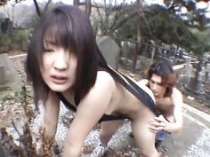Subtitled JAV public nudity graveyard blowjob