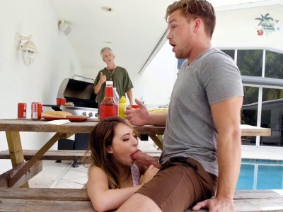 Quinn Wilde sucks stepbro's cock behind their parents back